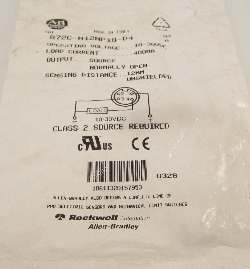 NEW ALLEN BRADLEY 872C-N12N018-D4 SER A 10-30VDC 400mA CLASS 2 SOURCE REQUIRED