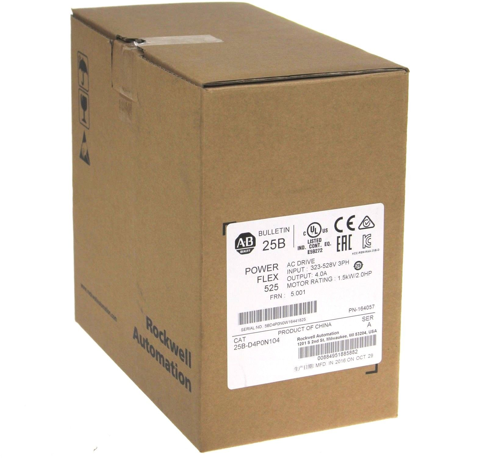 New 2016 Allen Bradley 25B-D4P0N104 PowerFlex 525 AC Drive Series A 2 HP