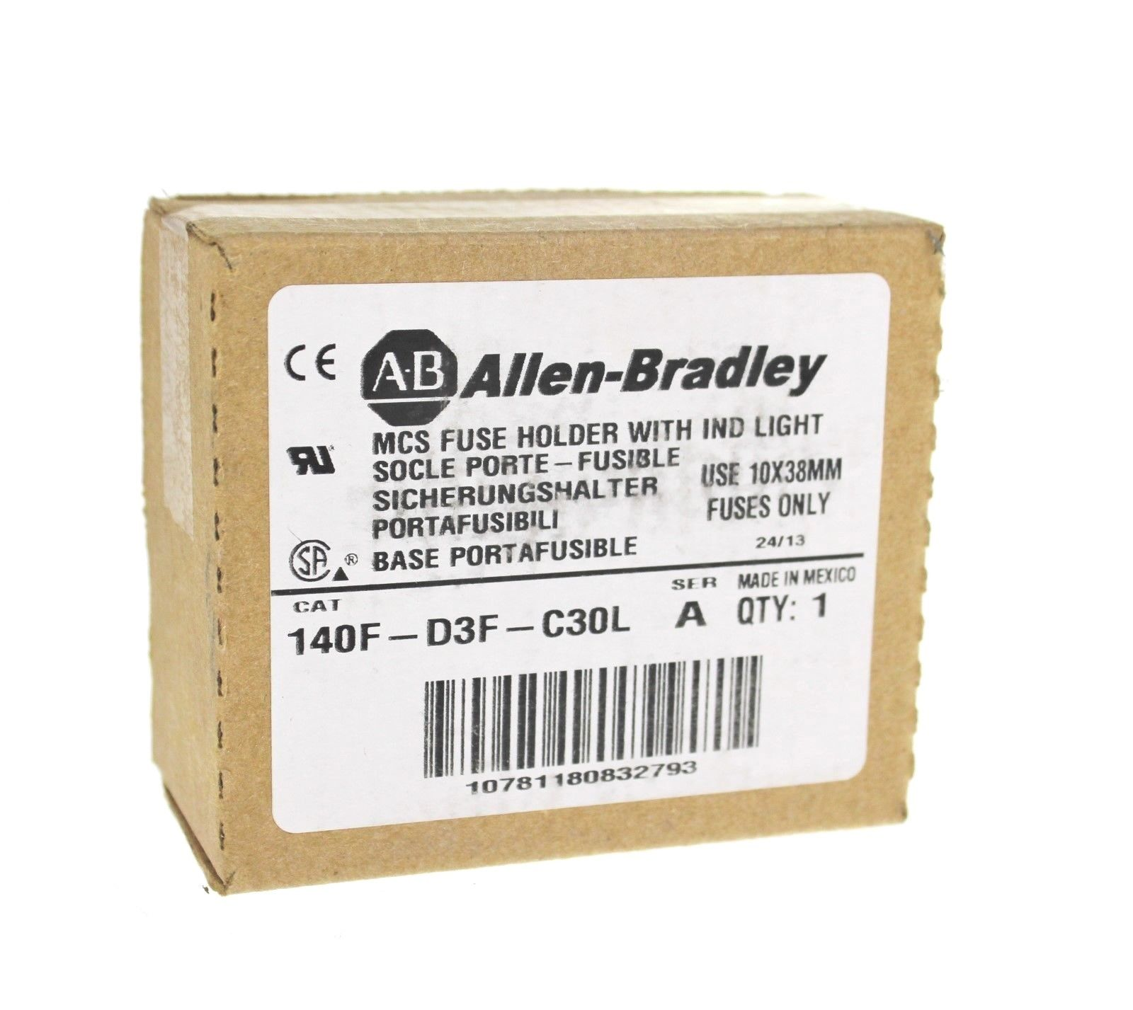 New Allen Bradley 140F-D3F-C30L /A MCS Fuse Holder w/Indicator Light