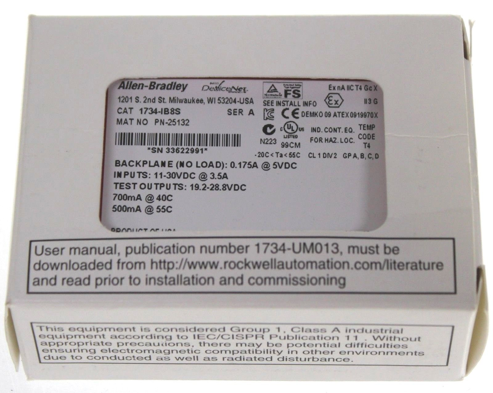 New Allen Bradley 1734-IB8S /A Point I/O 8 Point Safety Input Module