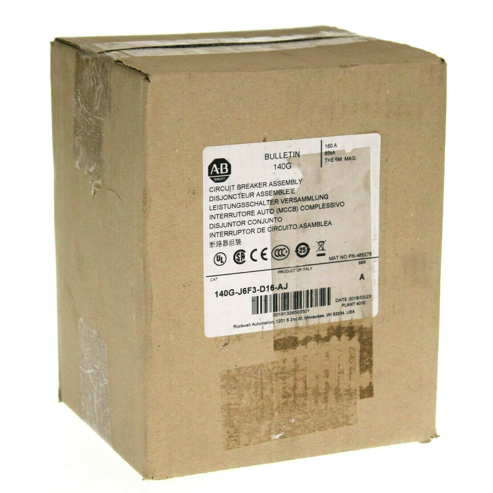 New Sealed 2018 Allen Bradley 140G-J6F3-D16-AJ /A Circuit Breaker Assembly