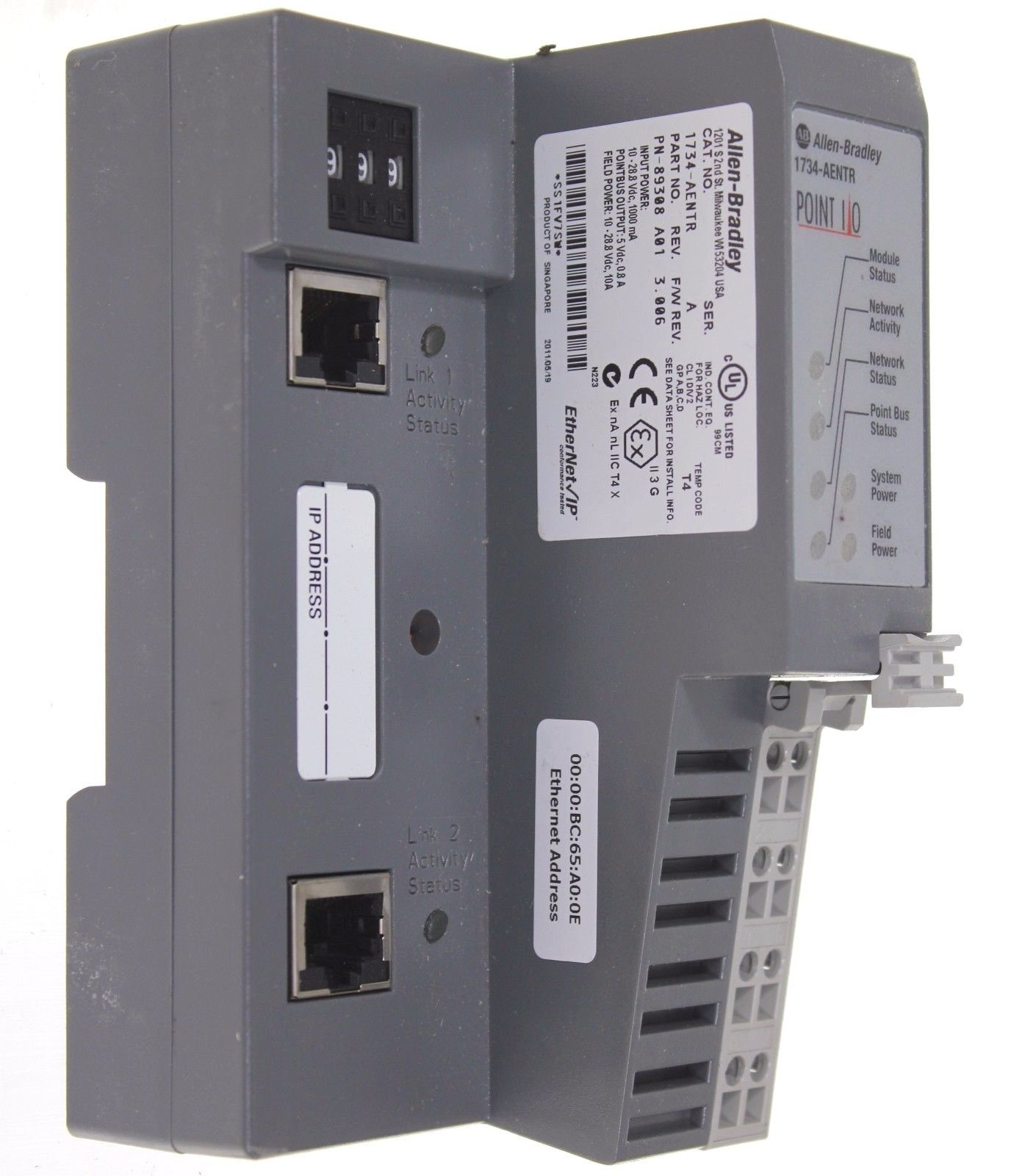 Allen Bradley 1734-AENTR /A  Point I/O Dual Port EtherNet Network Adaptor