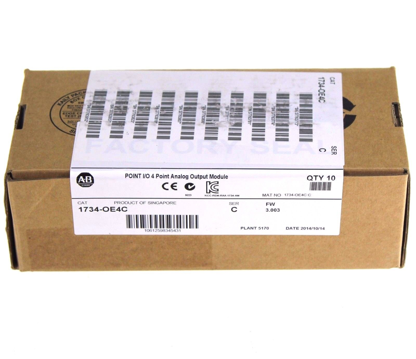 New Sealed Box of 10 Allen Bradley 1734-OE4C /C 4 Channel Analog Output Module