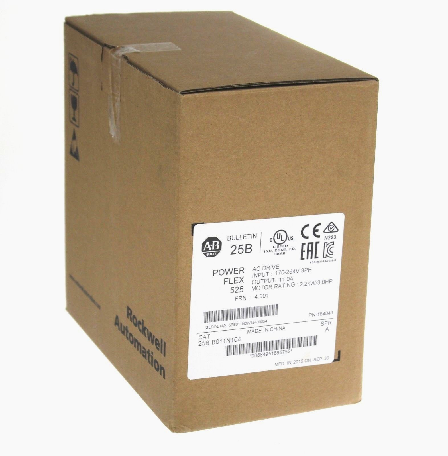 New 2015 Allen Bradley 25B-B011N104 PowerFlex 525 AC Drive Series A 11.0A 3.0HP