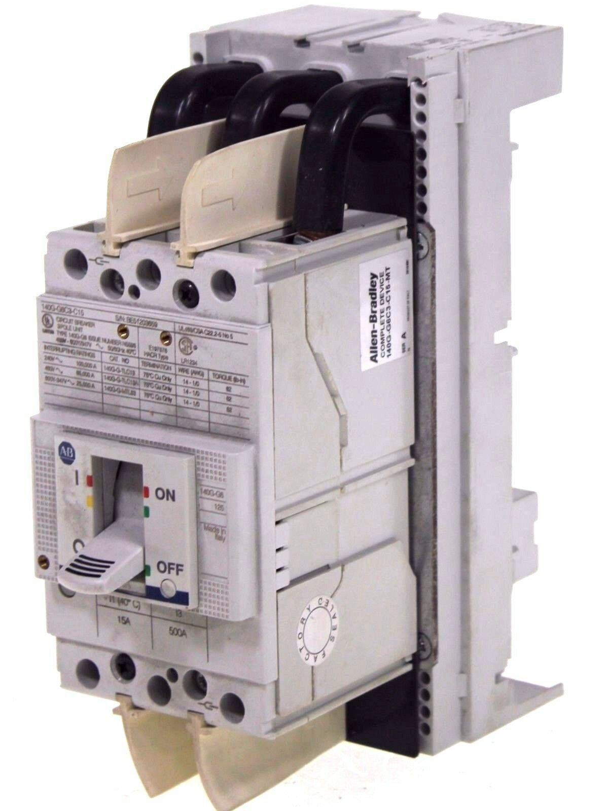 Allen Bradley 140G-G6C3-C15-MT /A Circuit Breaker Assembly 15A 3-Pole